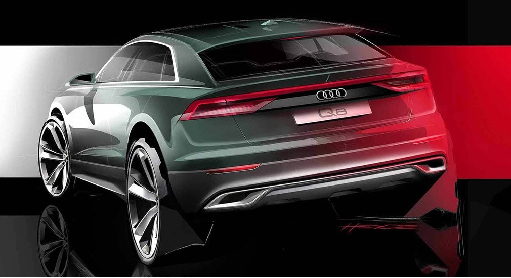 Раскрыт дизайн нового флагманского кроссовера Audi Q8 - задняя часть