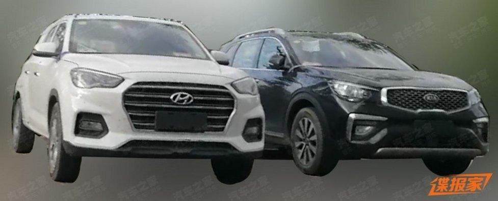 Новый паркетник hyundai в сопровождении киа